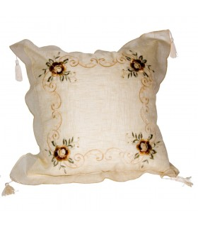 Silk Floral Design Cushion - 50 cm - White or Cream