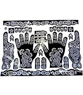 Adesivo Tattoo Henna Modelo - Pés e Mãos - 1 de Uso Único