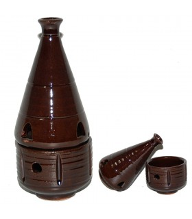 Censer Hearth Brown- Grain Incense - Ceramic Enameled