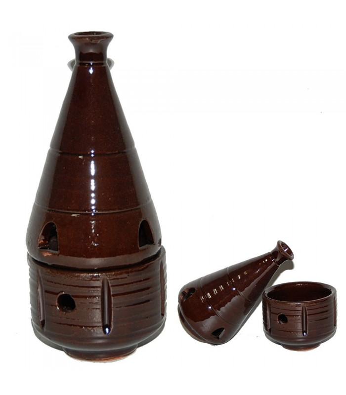 Censer Hearth Brown- Grain Incense - Ceramic Enameled