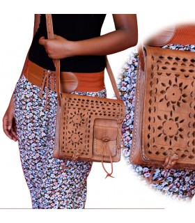 Handmade bag leather - Floral openwork design - 3 pockets