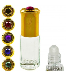 Perfumero Cristal - Roll On - 3 ml - Cabeza Dorada con Diamante