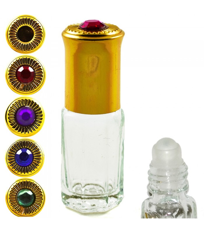 Perfumero Cristal - Roll On - 3 ml - Cabeza Dorada con Diamante