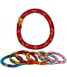 Bracelet India - spun by hand - colorful designs - 7 cm