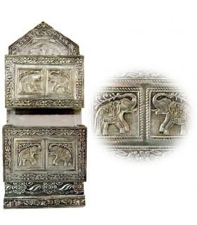 Lettere di guardiano incisa Alpaca - elefanti - Porta chiavi