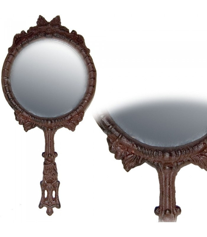 Espejo Mano Fundición Hierro - Decorado Relieves - 26 cm x 12 cm