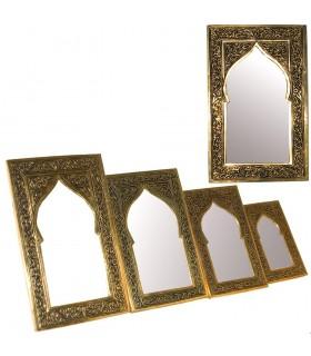 Espejo Latón Grabado - 9 Tamaños - Diseño Arco Arabe