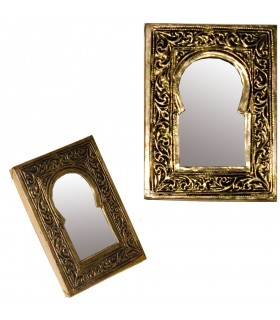 Engraved Brass Mirror - Small - Arab Arch Design