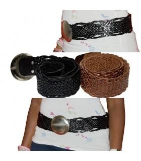 Cinturón Cuero - Trenzado Artesanal - 2 Colores - Sello Alpaca - Modelo Espiral