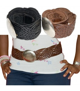Belt leather - handmade braided - 2 colors - seal Alpaca