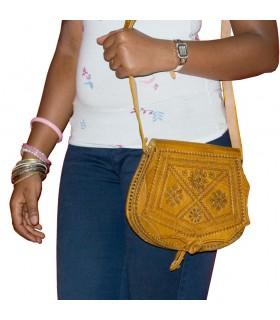 Tasche gravierte Leder - Kunsthandwerk - 2 Farben - 2 Fächer