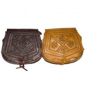Bolso Cuero Grabado - Artesanal - 2 Colores - 2 Compartimentos