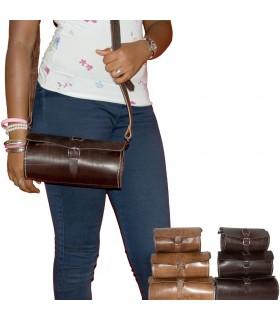 Ручной работы кожаный мешок - в форме цилиндра - 3 размеры - 2 цвета