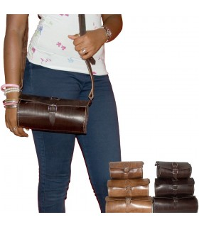 Handmade Leather Bags - Cylinder Shape - 3 Sizes - 2 Colors