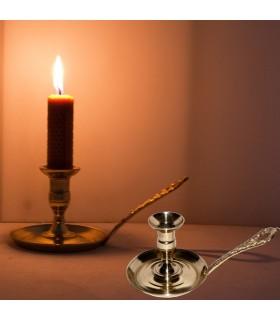 Candeliere ottone - manico inciso - cast 12cm - spagnolo