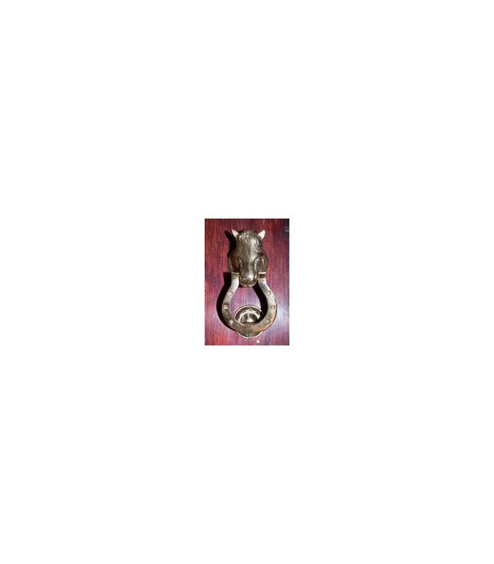 Llamador Cabeza Caballo Relieve - Herradura - Fundición Bronce