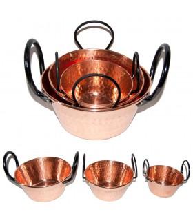 Kupfer Peral - dekorativ - schwarzer Griff vernietet verschiedene Größen