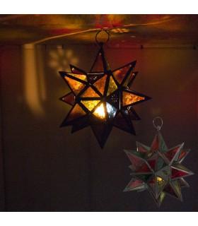 Farol Vela Estrella Multicolor-Calado Arabe - 18 puntas - 35 cm