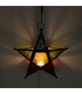 Farol Vela Estrella Multicolor -  Calado Arabe-  Cadena 35 cm