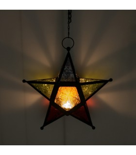 Lantern candle star multi-color - draught Arabic - chain 35 cm
