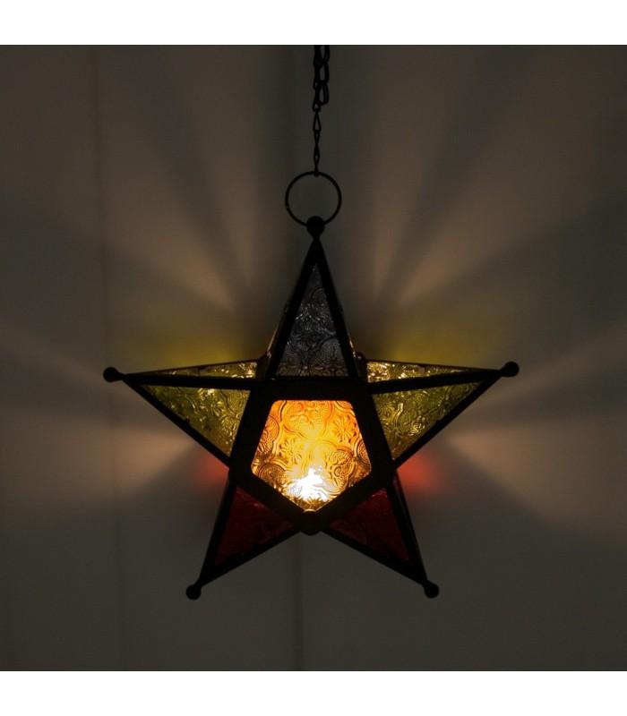MulticolorCandle Lantern Star - Draught Arab-Chain 35 cm