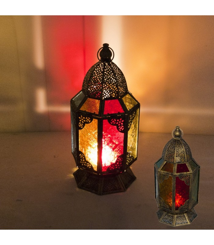 Candle Lantern - Octagon - Draft Arab Aged - Multicolor