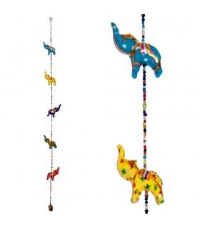 5 Pendentifs Éléphant - Chance - Bell - 100 cm