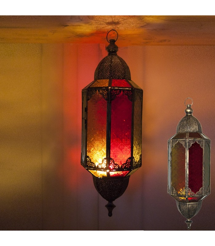 Hanging Candle Lantern Large - Octagonal - Draft Arabic - Multic