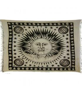 Tela Algodon-India- Buenos Dias Sol Luna -Artesana-240 x 210 cm