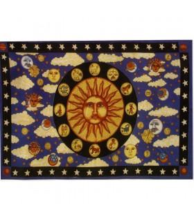 Coton Tissu Inde-Sun Zodiac -135 x 210 cm