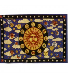 India Cotton Fabric-Sun Zodiac -135 x 210 cm