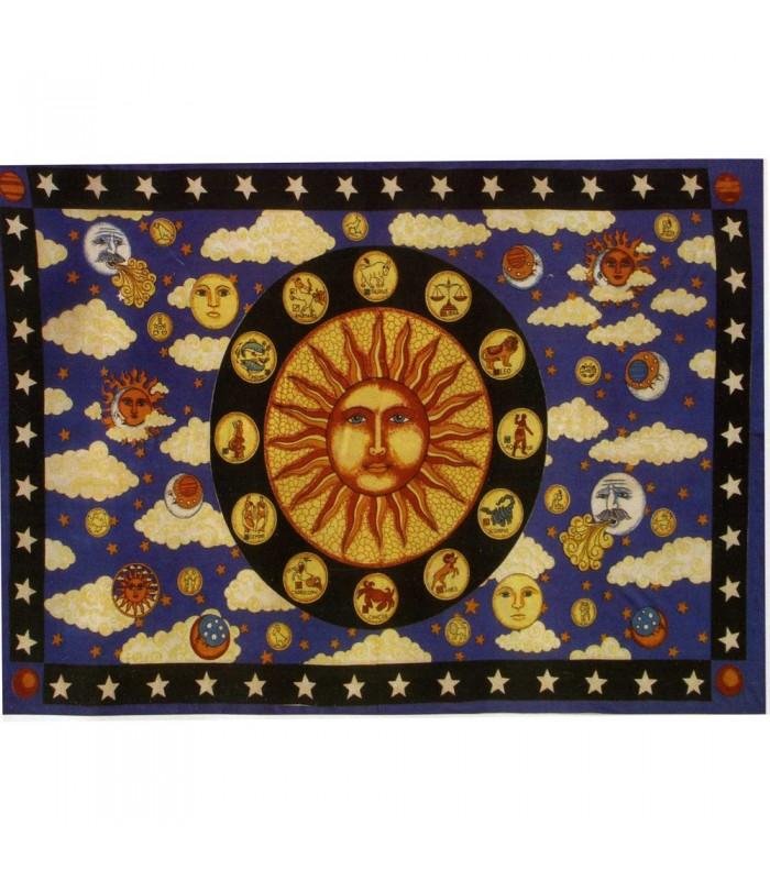 India Cotton Fabric-Sun Zodiac -135 x 210 cm