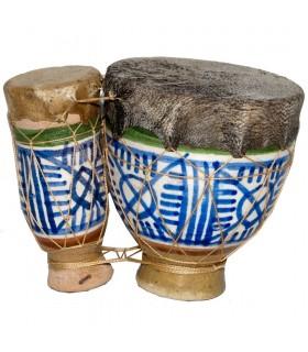 Mini ceramic Djembe and skin - drum - painted - craftsman