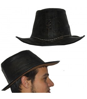 Hat handmade leather - engraving - 2 colors - one size