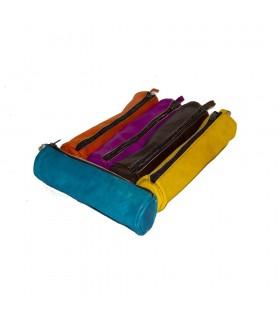 Pelle penna - vari colori - chiusura a zip - 23 cm