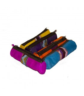 Pen leather-tapestry-several colours-zip-23 cm