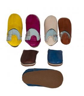 Babucha Piel Mini - Niños - Varios Colores - N 18-36 -Suela Dura
