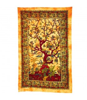 Fabric cotton India-tree of the Vida-Artesana - 210 x 240 cm