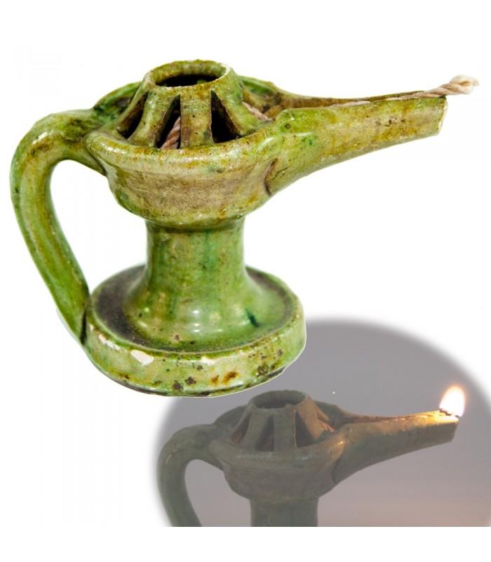 Aladino Barro - Barniz Verde Envejecido - Aceite y Algodón 10 cm