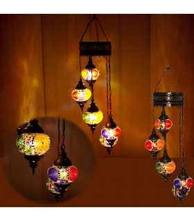 Lampada turco - 5 palline in vetro Murano - mosaico - 1 m