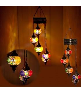 Lampe Türkisch - 5 Kugeln Glas Murano - Mosaik - 1 m