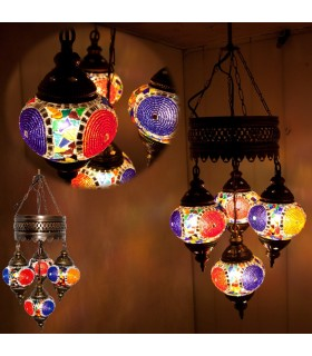 Lamp Turkish - 4 balls glass Murano - mosaic - 75 cm
