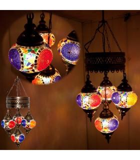 Turco - 4 palle vetro Murano - mosaico lampada - a 75 cm