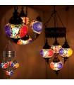 Lámpara Turca - 4 Bolas Cristal Murano - Mosáico - 75 cm