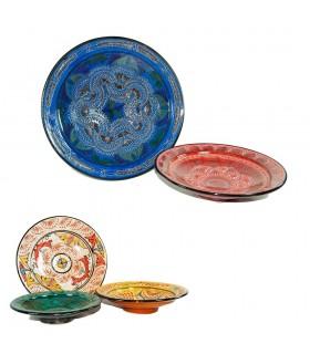 Prato de cerâmica esmaltada e gravada - pintada à mão - 5 Tamanh