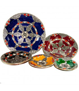 Ceramic plate hand painted - bone - Fatima hand - 5 sizes