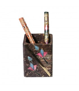 Onyx square pen - design flower colors embedded - 8 cm