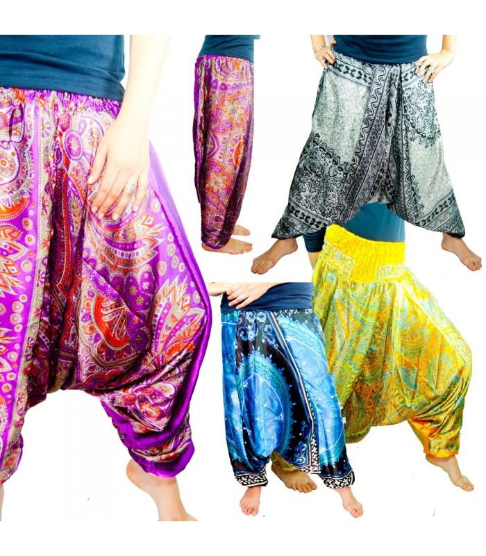 Pantalón Bombacho - Estampado Floral - Talla Unica - Seda