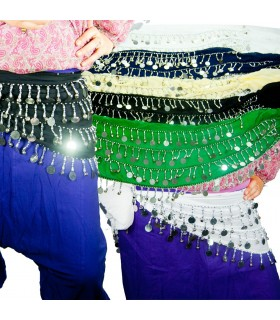 Cachecol Dança do Ventre - 4 filas moedas brilhantes - Cores