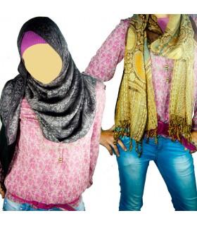Razões de algodão floral Pashmina - Cachecol - Várias cores